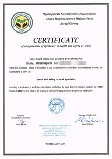 Certificate of competencies of specialist in health and safety at work